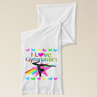 I LOVE GYMNASTICS RAINBOW GYMNAST GIRL DESIGN SCARF
