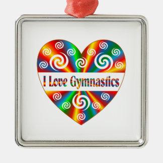 I Love Gymnastics Silver-Colored Square Decoration