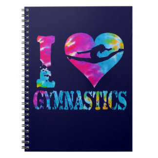 I Love Gymnastics Tie Dye Notebook