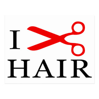 I Love Hair, I Cut Hair, I love Barbers, I Love Postcard
