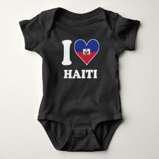 I Love Haiti Haitian Flag Heart Baby Bodysuit