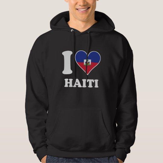 I Love Haiti Haitian Flag Heart Hoodie