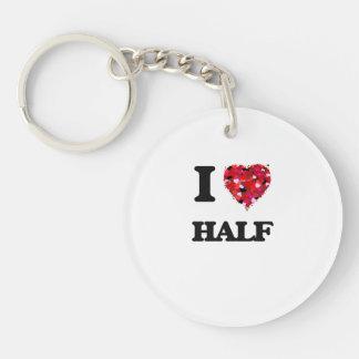 I Love Half Single-Sided Round Acrylic Key Ring