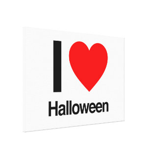 i love halloween stretched canvas print