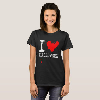 I Love Halloween Red Bat black T-Shirt