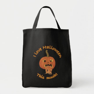 I love Halloween this much! Grocery Tote Bag