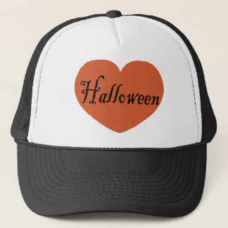 I Love Halloween With Orange Halloween Heart Trucker Hat