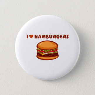 I Love Hamburgers 6 Cm Round Badge