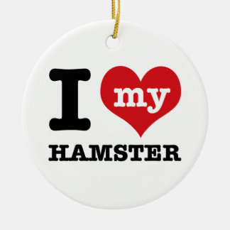 I Love hamster Round Ceramic Decoration