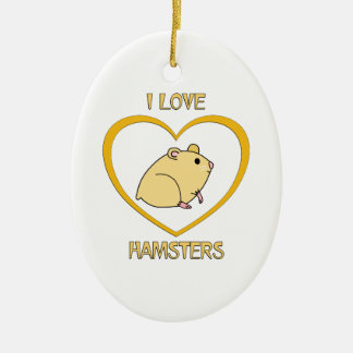 I Love Hamsters Ceramic Oval Decoration