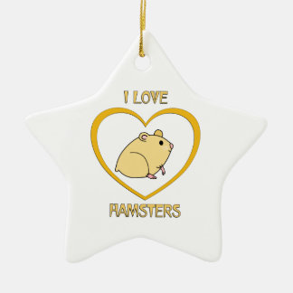 I Love Hamsters Ceramic Star Decoration