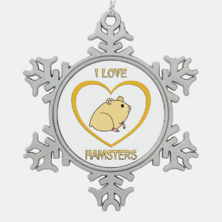 I Love Hamsters Pewter Snowflake Decoration