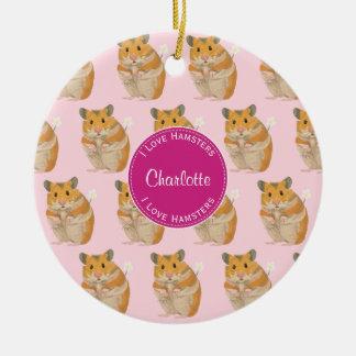I love Hamsters Pink Hamster Pattern Ceramic Ornament