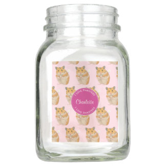 I love Hamsters Pink Hamster Pattern Mason Jar