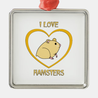 I Love Hamsters Silver-Colored Square Decoration