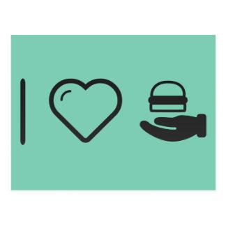 I Love Hand Hamburgers Postcard