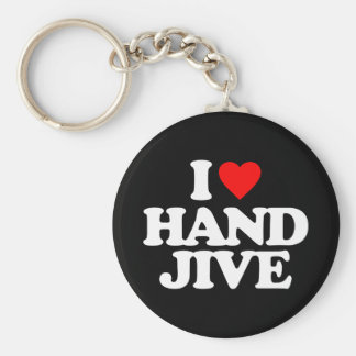 I LOVE HAND JIVE BASIC ROUND BUTTON KEY RING