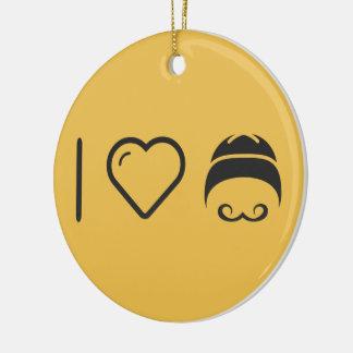 I Love Handlebar Moustaches Ceramic Ornament