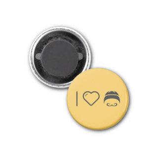 I Love Handlebar Moustaches 1 Inch Round Magnet