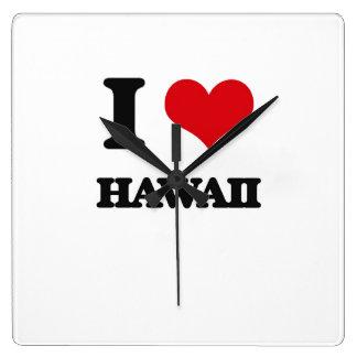 I Love Hawaii Square Wall Clock