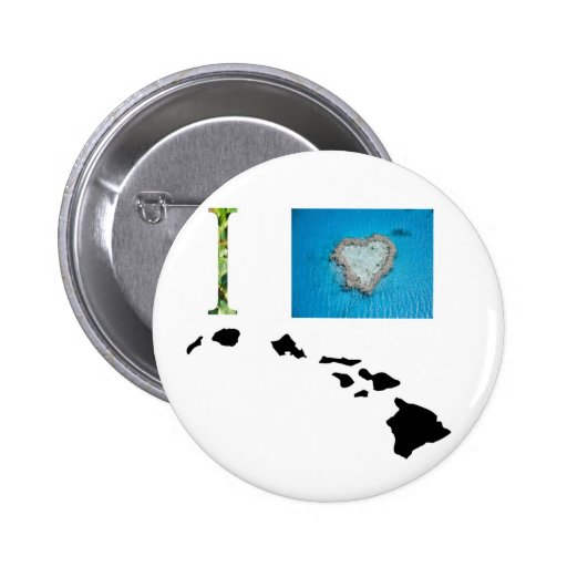 I Love Hawaii Design Pinback Buttons