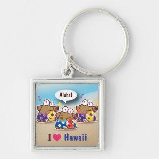 I Love Hawaii eyesore monster playing ukulele keyc Silver-Colored Square Key Ring