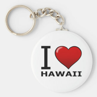 I LOVE HAWAII BASIC ROUND BUTTON KEY RING