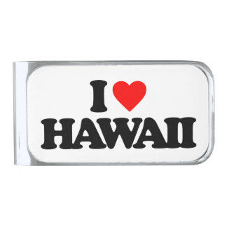 I LOVE HAWAII SILVER FINISH MONEY CLIP