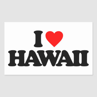 I LOVE HAWAII RECTANGULAR STICKER