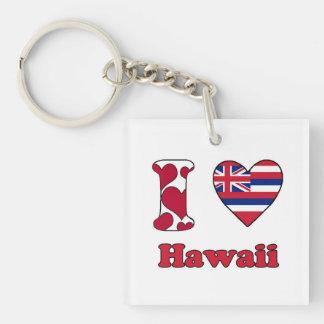 I love Hawaii Single-Sided Square Acrylic Key Ring