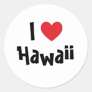 I Love Hawaii Round Sticker