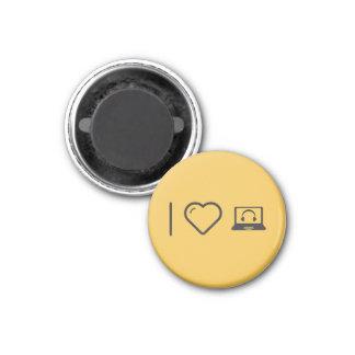 I Love Headphones 3 Cm Round Magnet