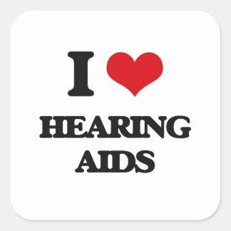I love Hearing Aids Square Sticker