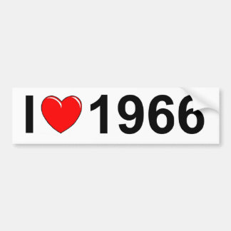 I Love Heart 1966 Bumper Sticker