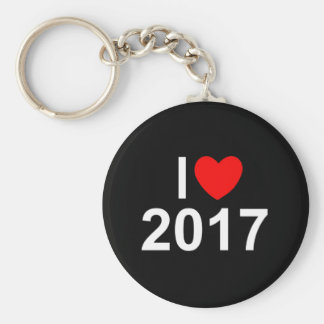 I Love (Heart) 2017 Basic Round Button Key Ring