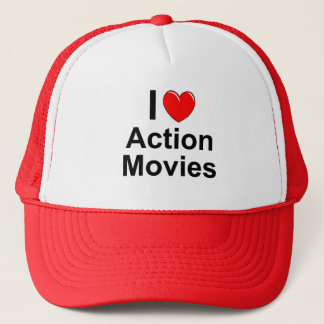 I Love Heart Action Movies Trucker Hat