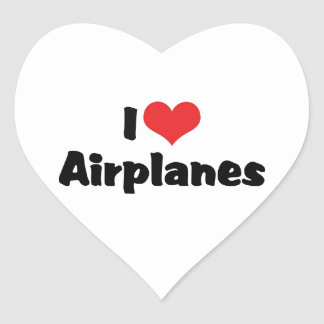 I Love Heart Airplanes Heart Sticker