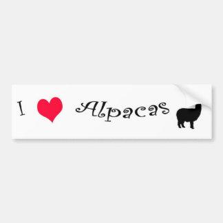 I Love (heart) Alpacas Bumper Sticker