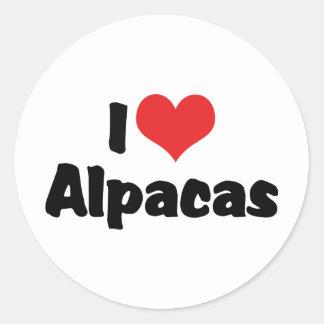 I Love Heart Alpacas Classic Round Sticker