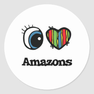 I Love (Heart) Amazons Round Sticker