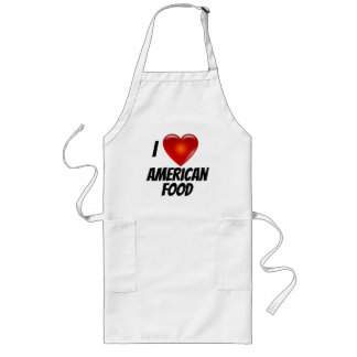 I Love Heart American Food Long Apron