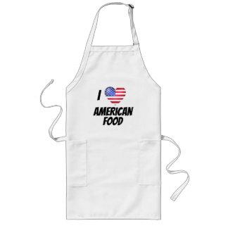 I Love Heart American Food US Flag Long Apron