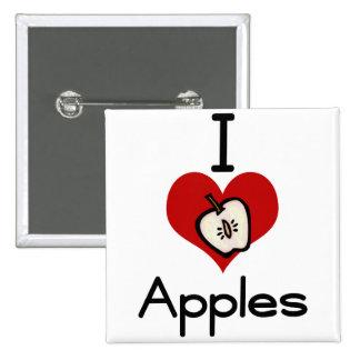 I love-heart apple 15 cm square badge