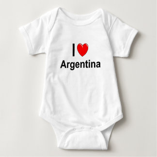 I Love Heart Argentina Baby Bodysuit