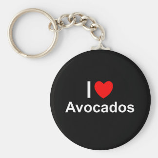 I Love Heart Avocados Key Ring