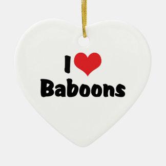 I Love Heart Baboons Ceramic Heart Decoration