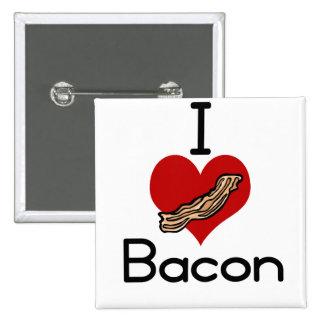 I love-heart Bacon 15 Cm Square Badge