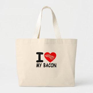 I LOVE HEART BACON FUNNY SHIRT . LARGE TOTE BAG
