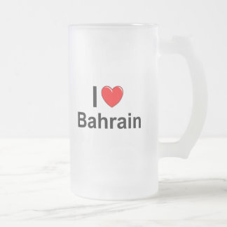 I Love Heart Bahrain Frosted Glass Beer Mug