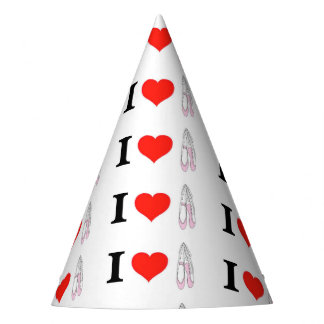 I Love Heart Ballet Party Hat